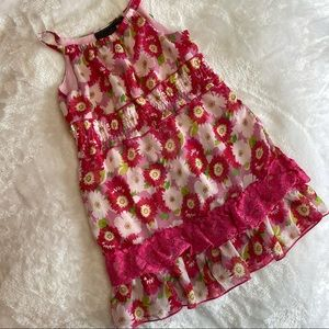 Self Esteem Pink Floral 3T Dress with Lace Ruffle